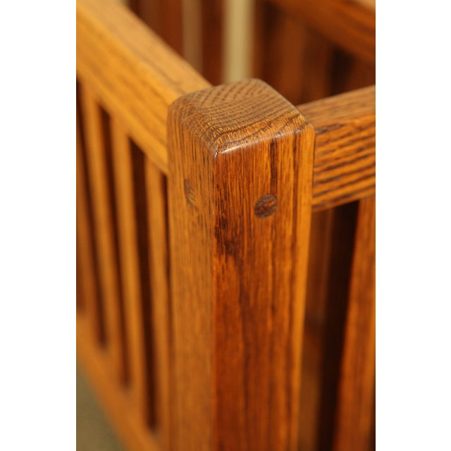 Mission Style Solid Oak Magazine Stand For Sale - Image 9 of 12