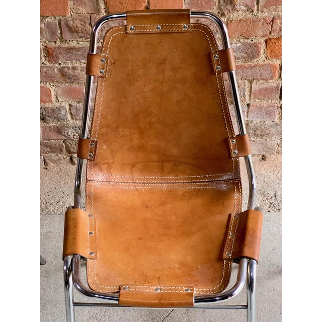 Metal Les Arcs Leather Tan Dining Chairs, 1970s - Set of 4 For Sale - Image 7 of 11