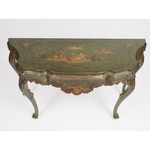 Asian Chinoiserie Decorated Console Table with a Drawer For Sale - Image 3 of 11