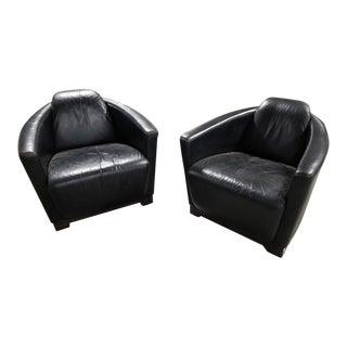 Mid Century Modern Nicoletti Calia Salotti Black Leather Chairs - Pair For Sale