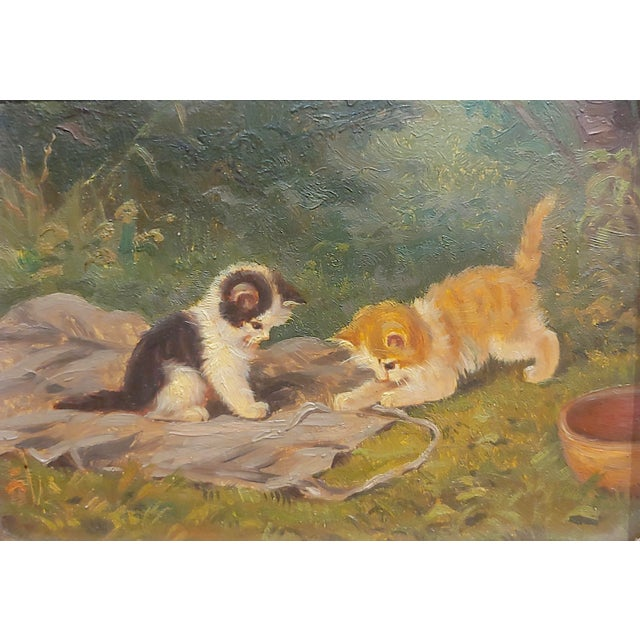 """Art Deco """"Playful Kittens"""" German Oil Painting, 1930s For Sale - Image 3 of 9"""