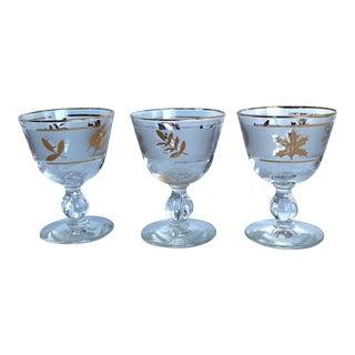 Vintage Libbey Golden Foliage Bar Glasses - Set of 3 For Sale