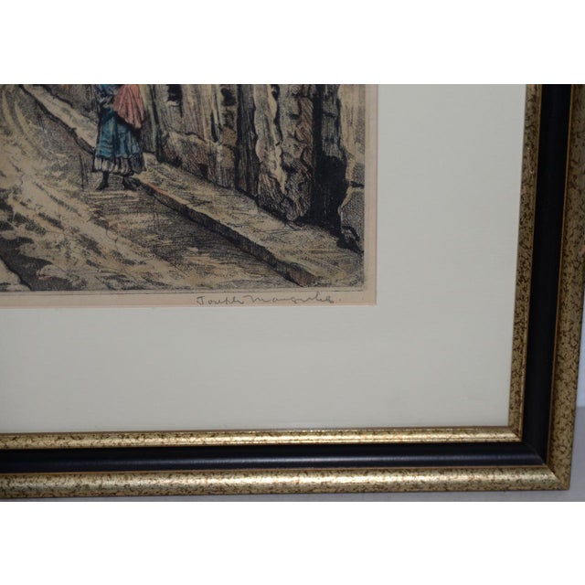 "Paint Joseph Margulies (1896-1984) ""The Oldest Rue in Paris"" Etching W/ Aquatinit C.1930s For Sale - Image 7 of 11"
