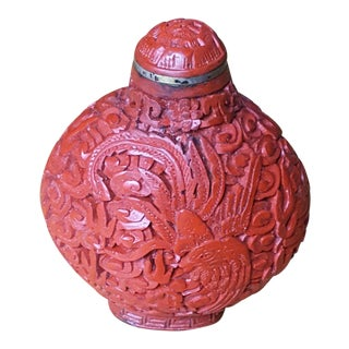 Antique Chinese Hand Carved Cinnabar Snuff Bottle For Sale