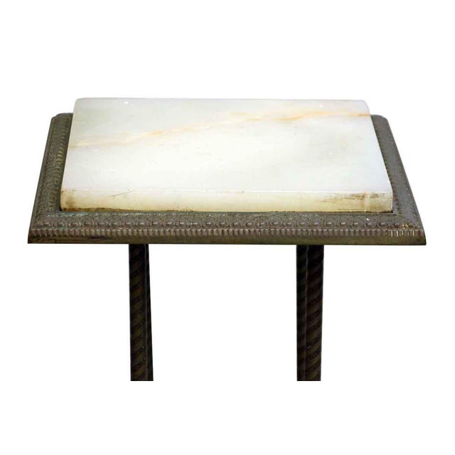 Traditional 20th Century Traditional Marble Top Side Console Table With Small Glass Shelf For Sale - Image 3 of 10