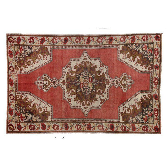 Vintage Mid-Century Turkish Oushak Rug - 4′6″ × 6′ For Sale - Image 4 of 5