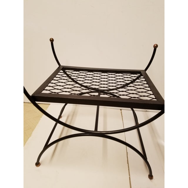 Hollywood Regency Neoclassical Salterini Style Iron & Brass Bench - Image 3 of 5