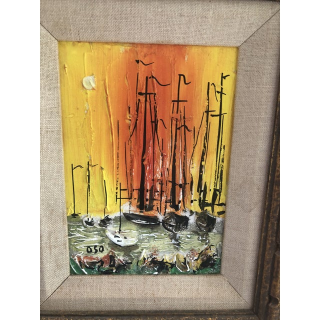 1970s Style Modern Ships Small Painting For Sale - Image 4 of 11