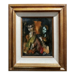 """1960s """"Femme With Spooky Faces"""" Oil Painting by Charles Levier For Sale"""
