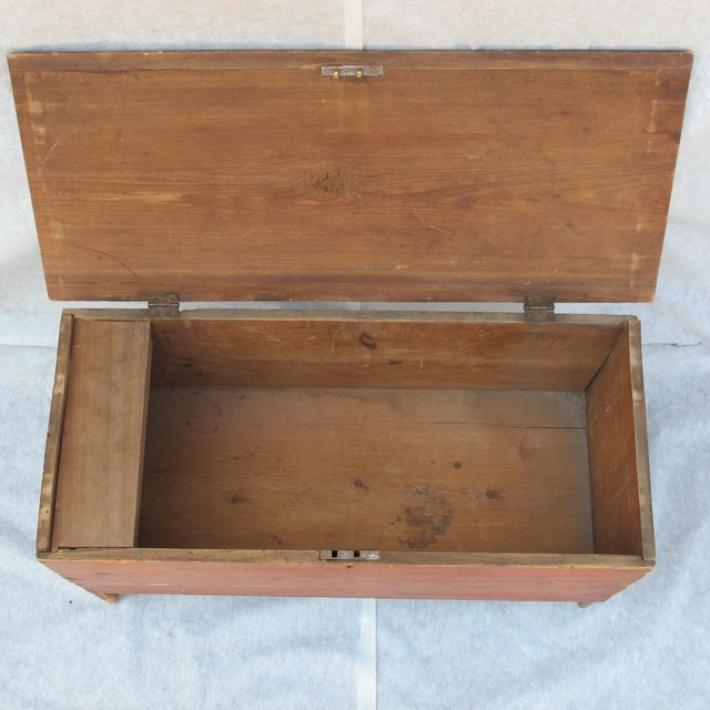 Original Red Painted Blanket Chest For Sale - Image 5 of 11