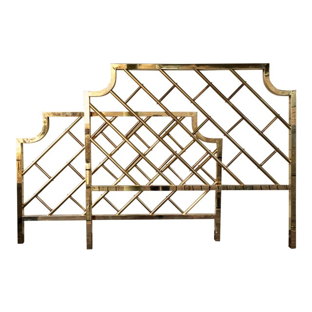 Chinese Chippendale Style Brass Queen Bedframe - Image 1 of 11