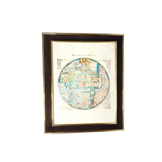 "1960s Vintage Mid Century Gold Framed ""Monialium Ebstorfensium Mappammundi"" Medieval European Map of the World"