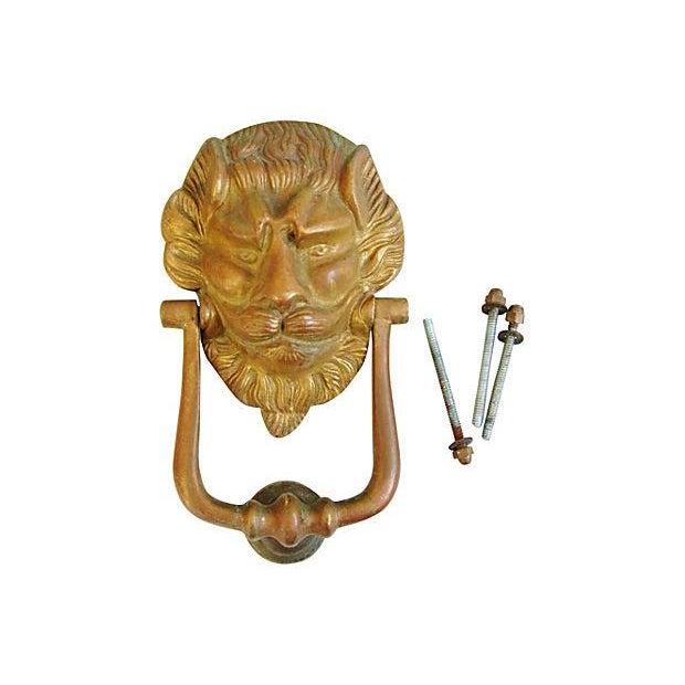 Vintage Lion Door Knocker & Strike Button - Image 2 of 8
