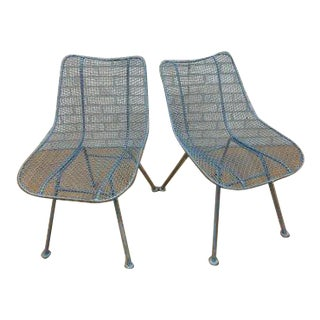 Mid Century Modern Russel Woodard Wire Mesh Sculptural Collection Patio Chairs- A Pair For Sale