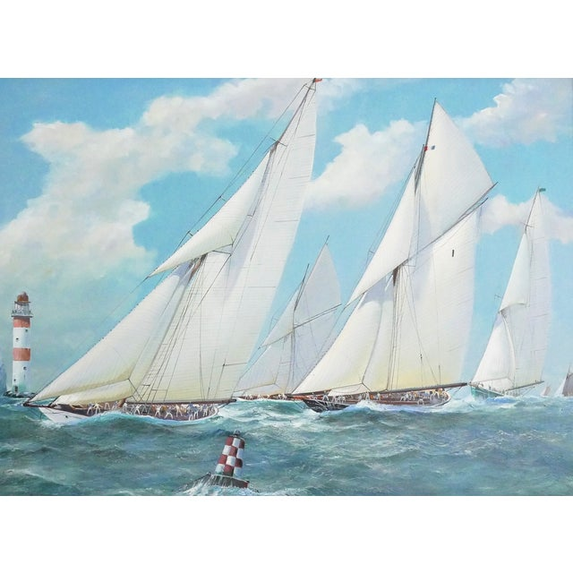 Canvas Nautical Yacht Racing Oil on Canvas, M Whitehand For Sale - Image 7 of 9