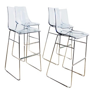 Set of Four Lucite Cafe Stools For Sale