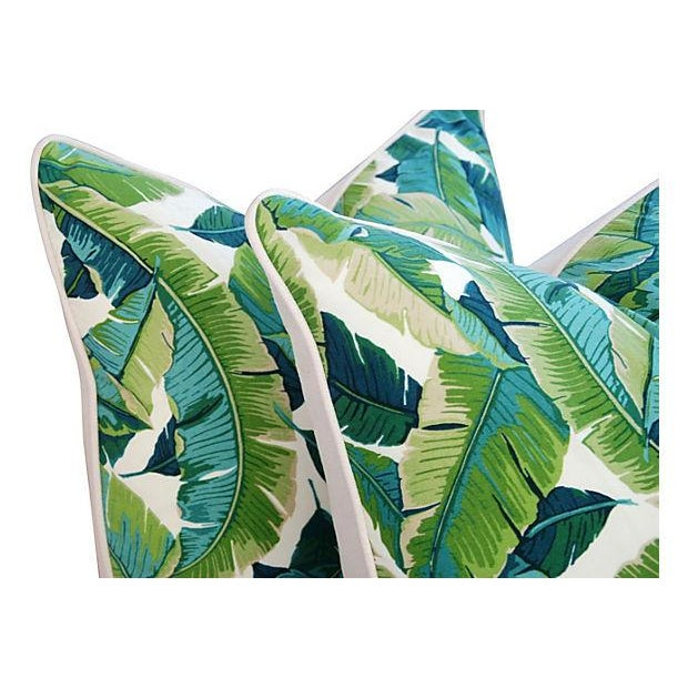 "24"" Square Custom Tailored Tropical Banana Leaf Feather/Down Pillows - Pair - Image 5 of 7"