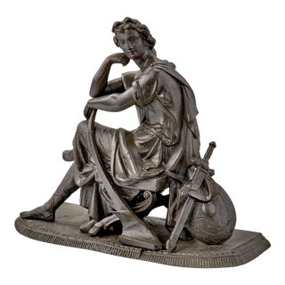 Late 19th Century Cast Statue of Seated Greek Warrior For Sale