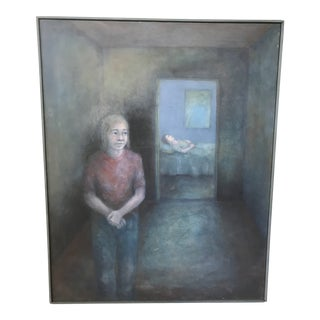 Vintage Mid Century Modern Abstract Sickness Death Bedside Waiting Oil Painting -Signed For Sale