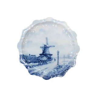 Antique Delft Porcelain Windmill Plate For Sale