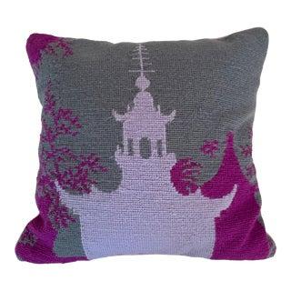 Jonathan Adler Pagoda Needlepoint Pillow With Velvet Back For Sale