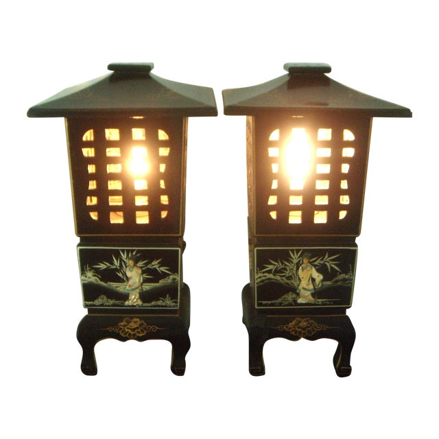 Vintage Lacquered Chinese Lanterns - A Pair For Sale