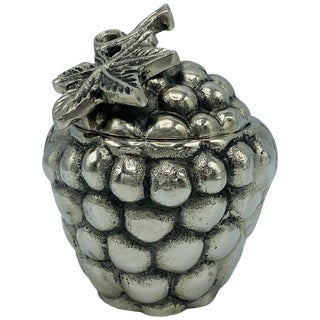1970s Mauro Manetti Style Silvered Metal Sculptural Grape Cluster Box For Sale