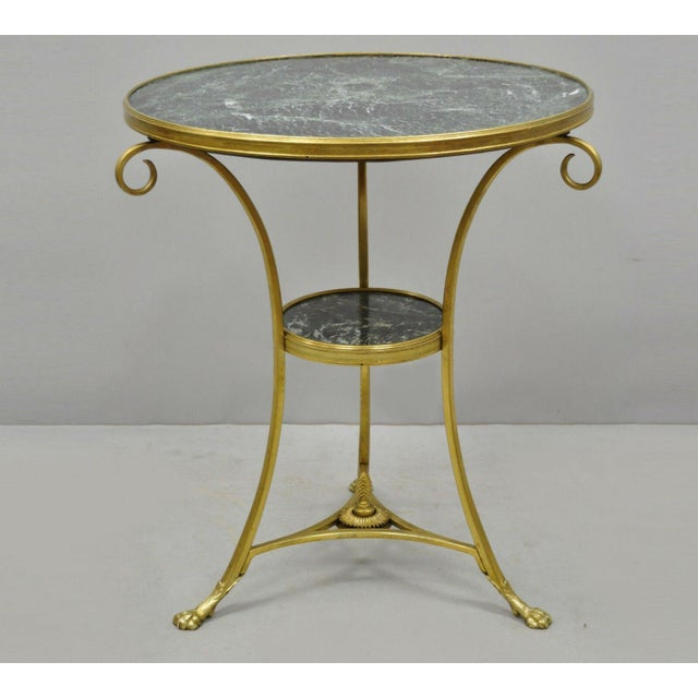20th Century French Bronze Neoclassical Round Green Marble Top Gueridon Table For Sale - Image 13 of 13