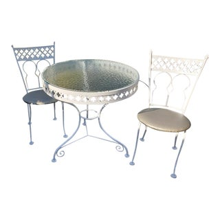 Woodard Mid-Century Modern White Iron Bistro Dining Set For Sale