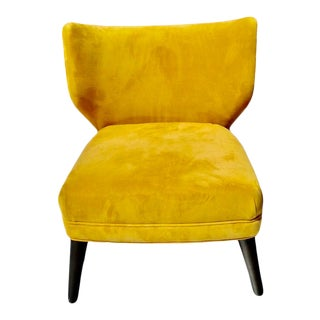 West Elm Retro Saffron Yellow Wingback Chair For Sale