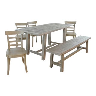 Rustic Pottery Barn Bartol Dining Set - 6 Pieces For Sale