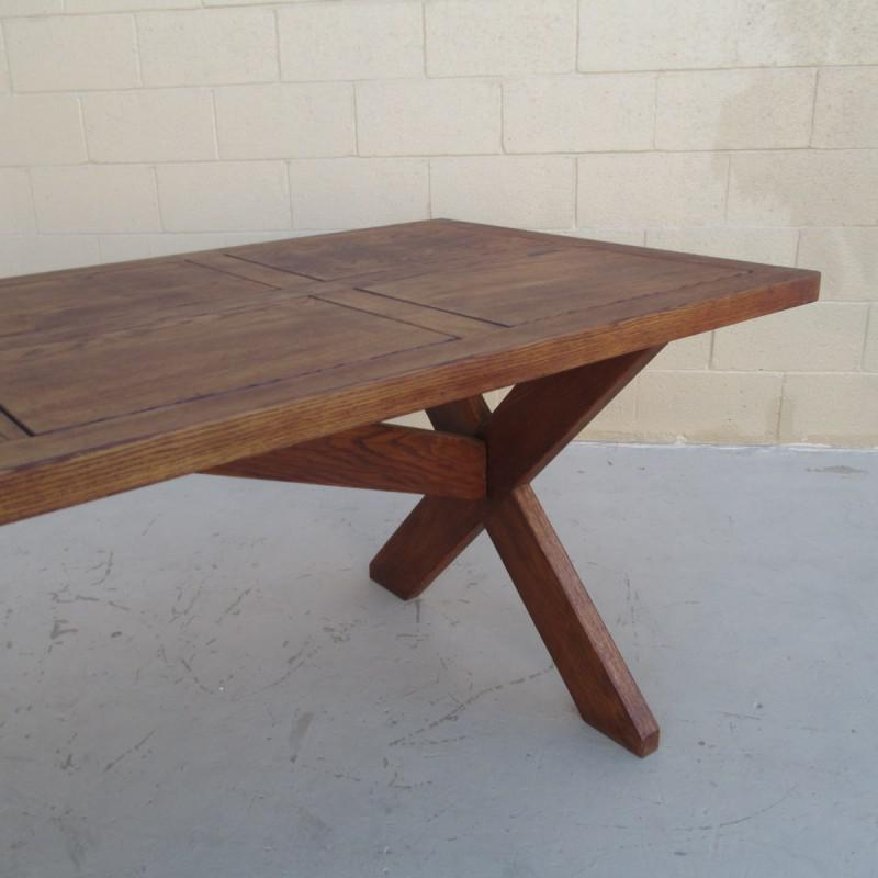 Brown Antique French Rustic Trestle Table For Sale   Image 8 Of 8
