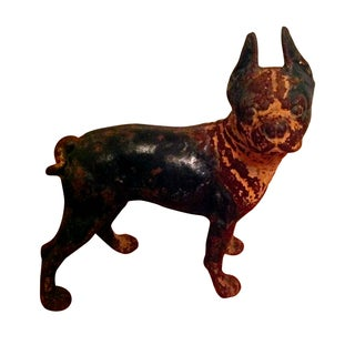 Vintage Cast Iron Boston Bull Terrier Door Stop For Sale