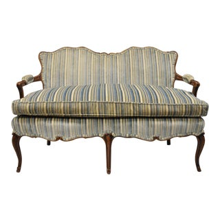 1950s Vintage French Country Louis XV Provincial Loveseat For Sale