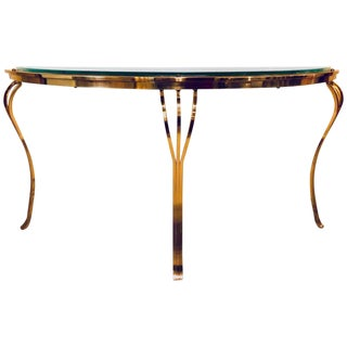 Hollywood Regency Style Brass and Glass Top Demilune Console Table Beveled Glass For Sale