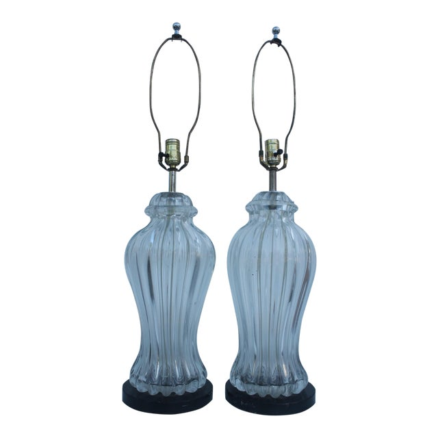 Italian Clear Glass Driveway: Italian Clear Murano Glass By Marbro Table Lamps