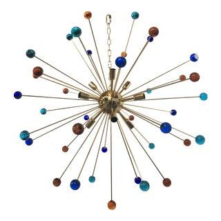 Multicolor Murano Glass Triedo Sputnik Chandelier For Sale
