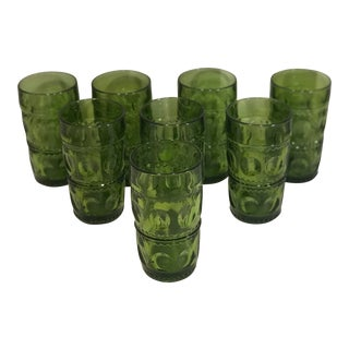 Vintage Kings Crown Thumbprint Green Glass Tumblers - Set of 8 For Sale