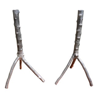 Aluminum Tree Brach Candle Holders - a Pair For Sale