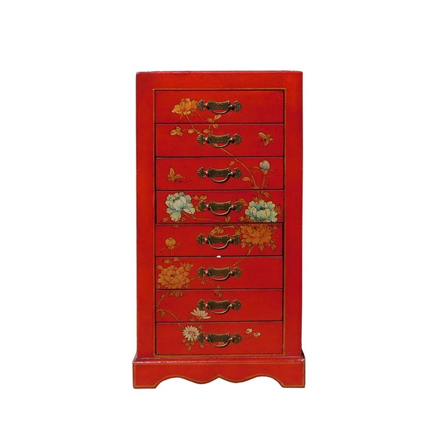 Miniature Red Vinyl Flower & Butterflies Chest of Drawers - Image 1 of 6