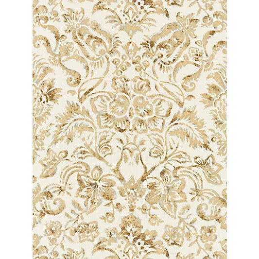 Traditional Sample, Scalamandre Mansfield Damask Print Fabric, Ivory & Burnished Gold For Sale - Image 3 of 3