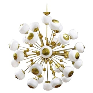 Italian Brass and Glass Sputnik Chandelier For Sale