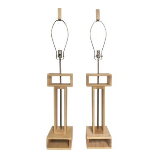 Modern Wood Crafted Table Lamps - a Pair For Sale