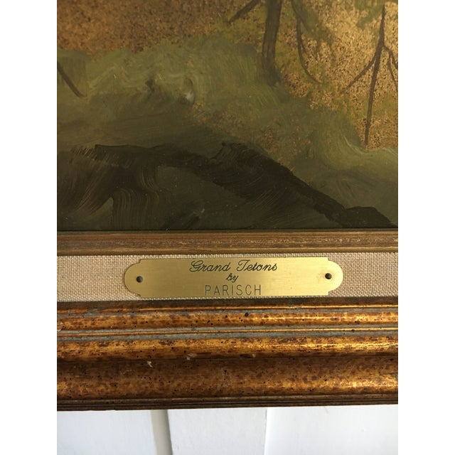 Original Gold Leaf on Masonite Painting by Les Parisch - Grand Tetons For Sale - Image 10 of 12