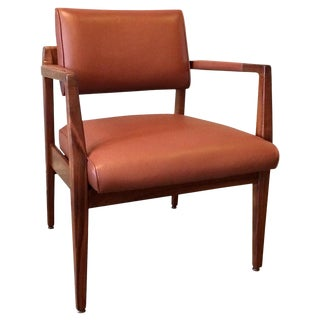 1960s Vintage Limited Edition Jens Risom Leather Armchair For Sale
