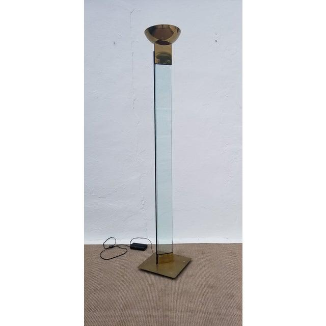 Italian Mid Century Brass and Glass Torchiere Floor Lamp For Sale - Image 12 of 12