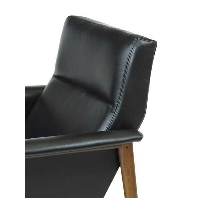 Rosewood and Black Leather Lounge Chair For Sale - Image 10 of 12