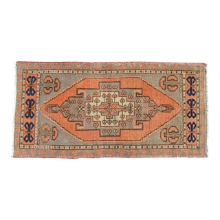 Small Rug Hand Knotted Distressed Oushak Rug Yastik - 21'' X 41'' For Sale