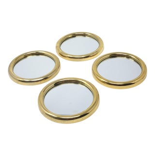 Vintage Brass and Mirror Beverage Coasters - Set of 4 For Sale