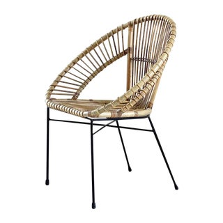 Grey Washed 'Trellis' Rattan With Iron Base Armchair From Indonesia For Sale